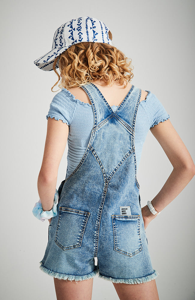 mimi blue lace trim denim girls short overall