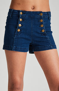 sailor denim double botton front high rise girls denim short