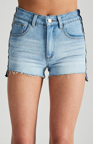 odette light blue high waisted high low hem girls faded denim short