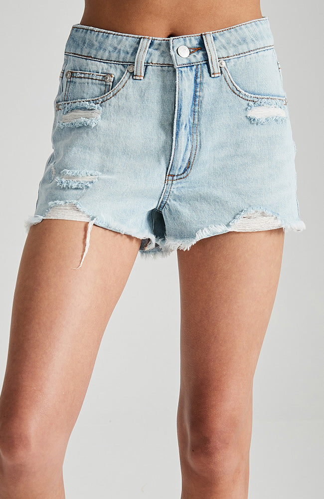 issa light blue distressed faded raw edge girls denim short
