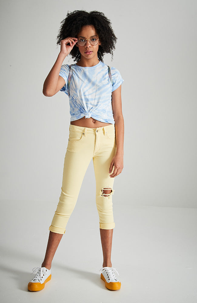 gen yellow distressed girls stretch denim jean