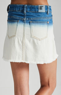 enya blue and white distressed dip dye denim girls mini skirt