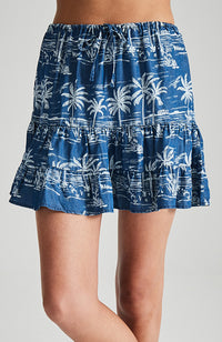lou lou blue pal tropical tencel elastic waist girls ruffle skirt