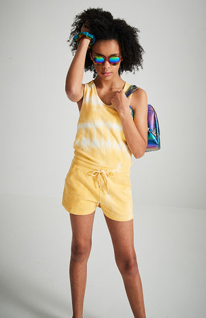 teagan yellow tie dye cross over back girls knit playsuit