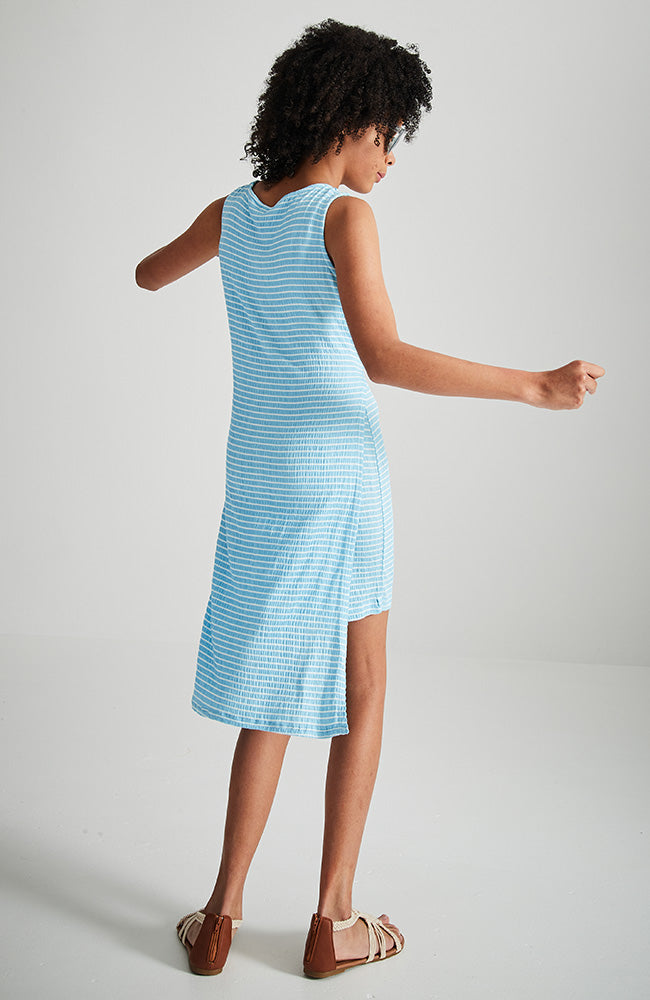 mikka blue and white stripe tie front girls knit dress