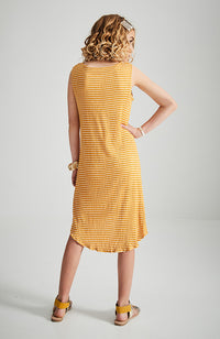 ivy yellow and white stripe tie front girls knit dress