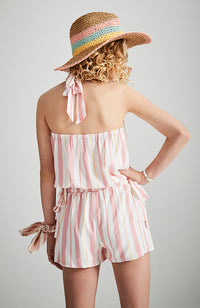 maude multi stripe girls halter playsuit