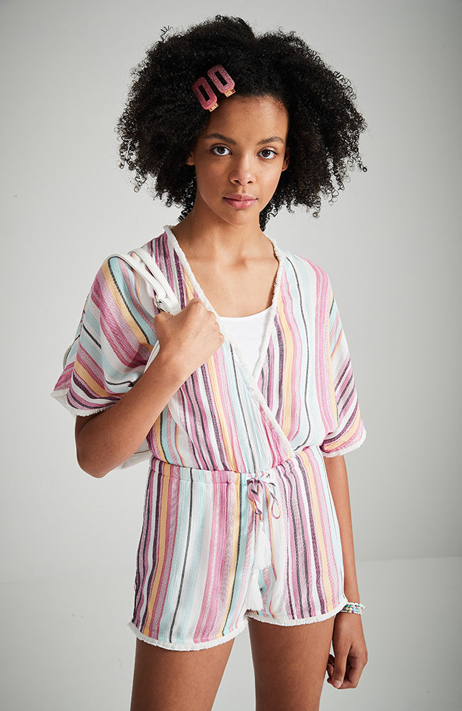 kathy multi stripe linen look kimono style girls boho playsuit