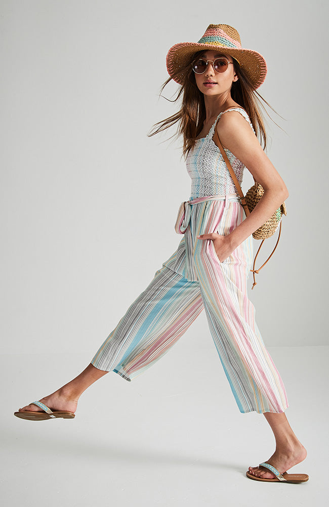 astra multi stripe shirred tie front 3/4 girls boho party jumpsuit