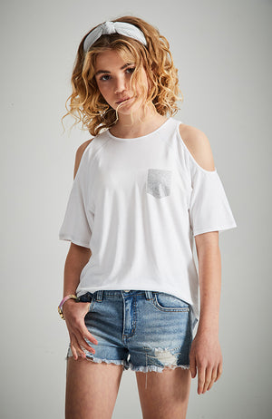 white diamonte pocket cut-out sleeve high low tee
