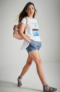 canggu white beach print high low split back tee