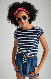 dani navy and white stripe tie front tee