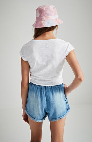 dani white palm sequins tie front tee