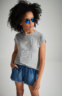 silver pineapple sequins grey marle high low tee