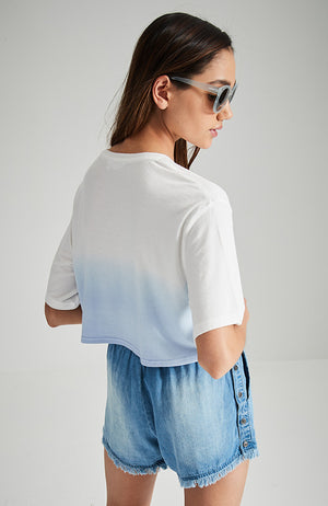 aqua blue ocean dip dye sea-horse jewelled crop tee