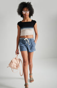 selena indigo and pink dip dye shirred top