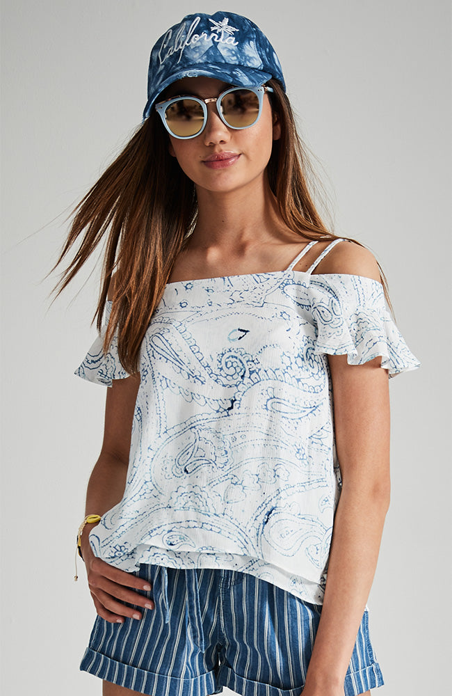 ellie white and blue paisley flouncy sleeve top