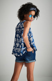 jasmina navy blue palm tree shirred high low boho top