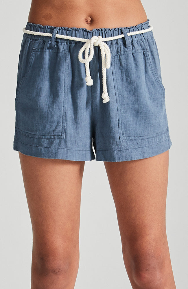 aviana blue pebble white cord boho short
