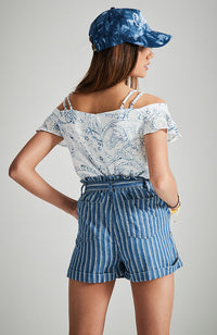 ruby soft washed soho blue stripe denim short