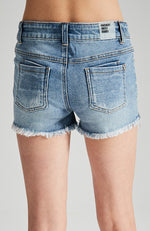 jaki diamond jewelled blue distressed and frayed denim short