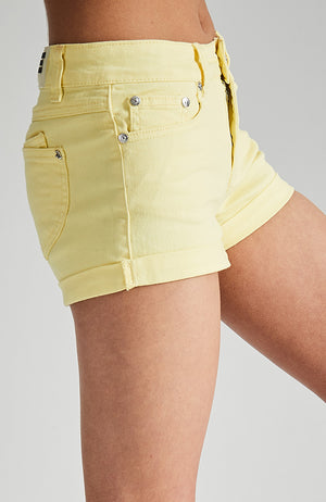 leah yellow tint rolled hem denim short