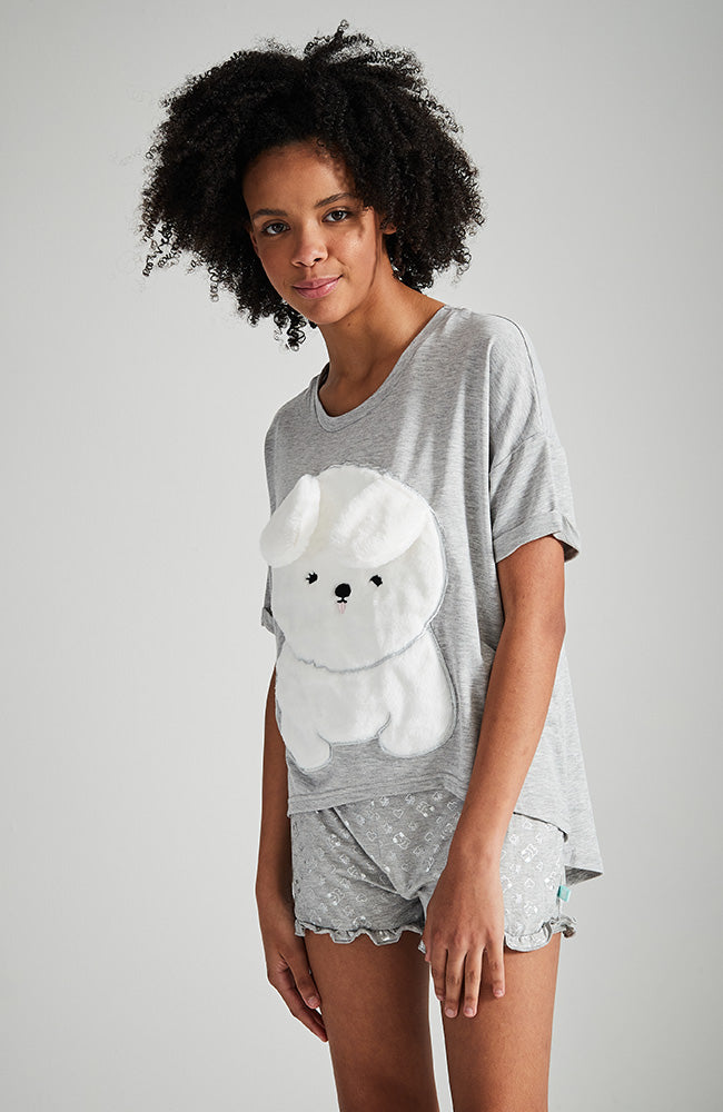 white puppy grey marle slouchy high low sleep tee