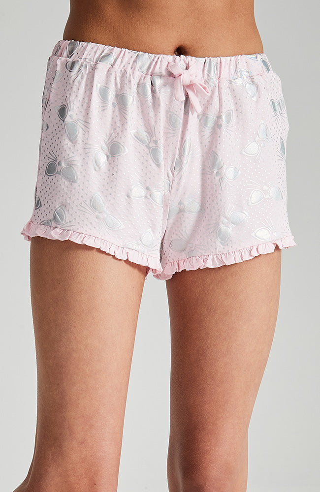 carli pink silver all over print soft and slouchy sleep short