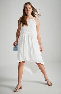 monica white lace high low boho party dress
