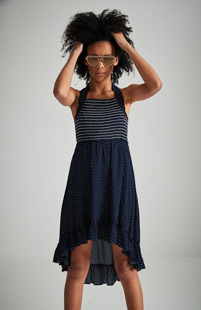 gianna navy blue polka dot high low halter shirred party dress
