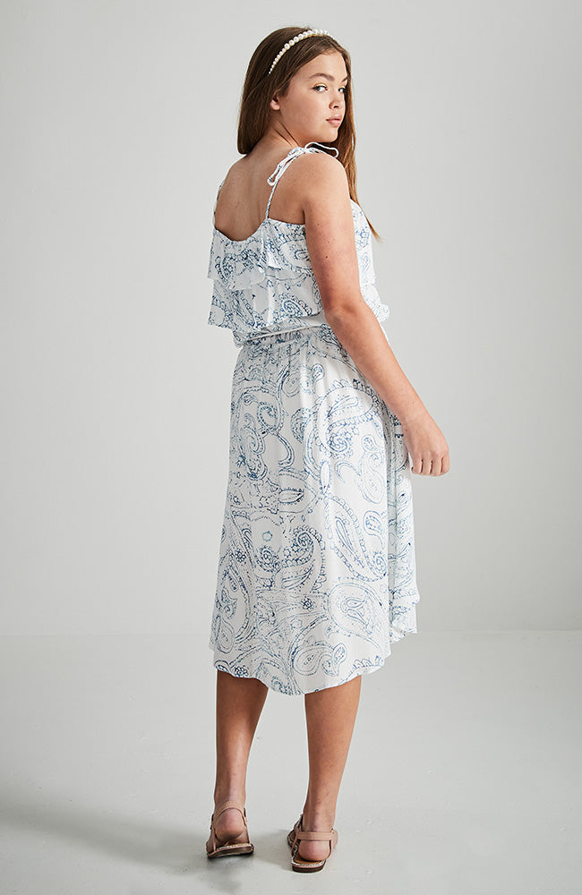 francesca white and blue paisley high low ruffle sleeve party dress