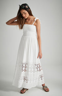 rayona white shirred lace hem party dress