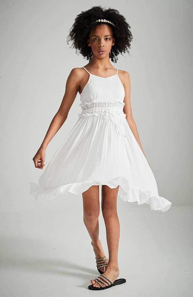 marion white shirred high low ruffle party dress