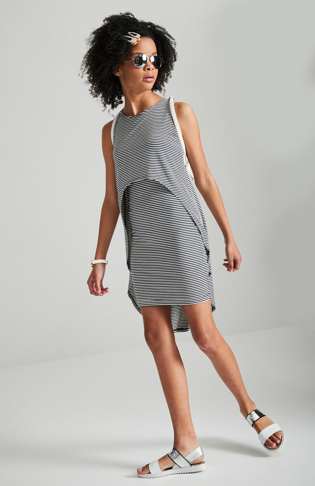 ivy navy and white curve front tank dress