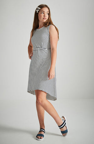 karina black and white striped  high low  dress