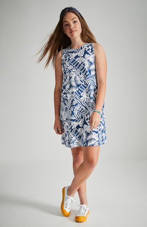 chelsea blue and white fern print midi party dress