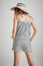 kyandra navy and white stripe boho vintage playsuit
