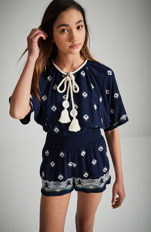 golda navy blue and cream vintage embroidery batwing playsuit