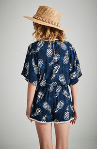 kathy navy blue pineapple v neck playsuit