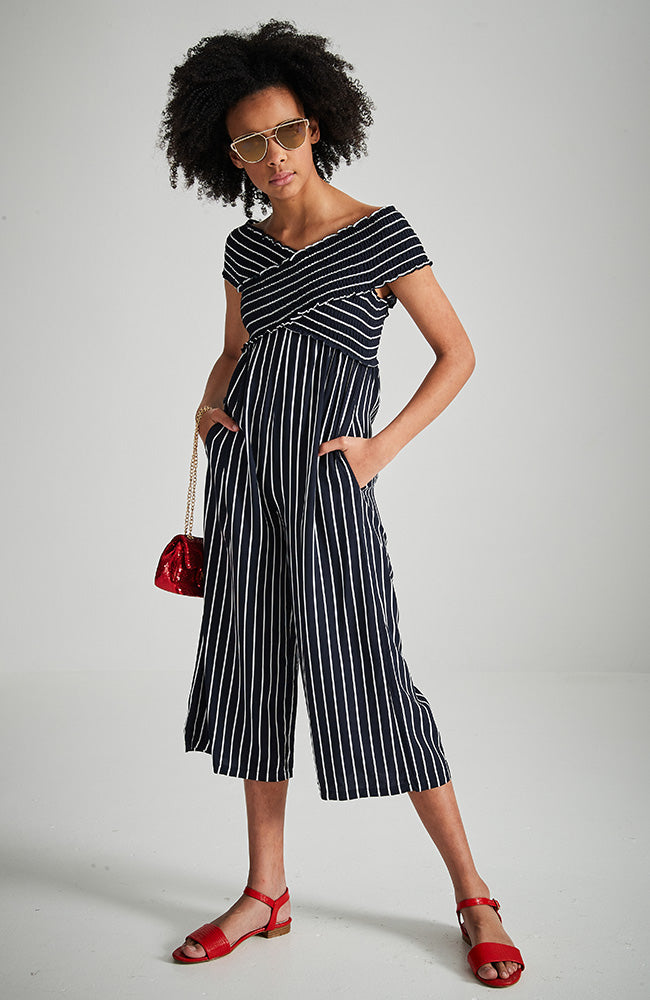 divina navy blue and white stripped criss cross shirred jumpsuit