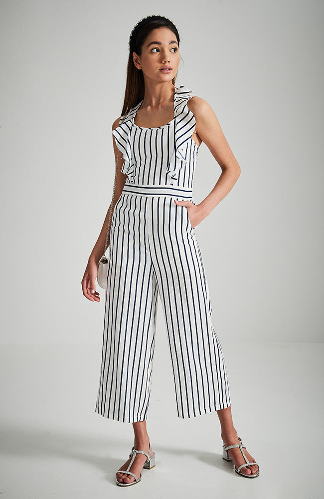 carly white and navy blue stripe ruffle back shirred boho playsuit