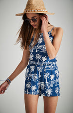 corina navy blue palm tree backless ties boho playsuit