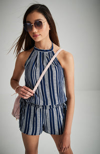 maude navy blue striped halter boho playsuit