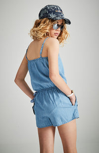 sally blue chambray palm tree embroidery playsuit