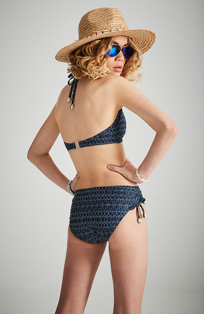 amie navy blue and white batik print halter bikini