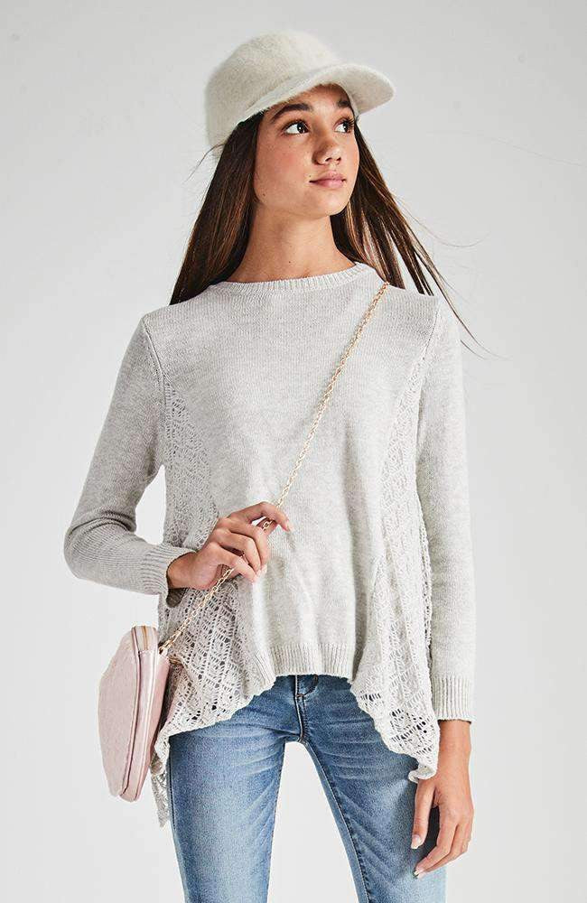 brylie grey crochet knit top