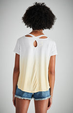 della yellow dip dye cross over neck girls tee