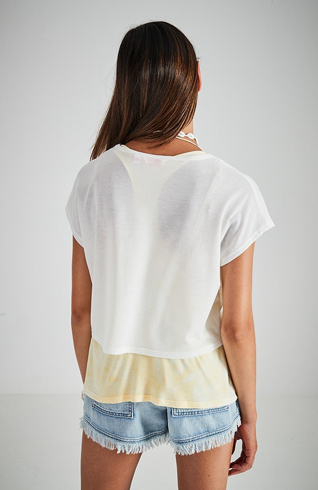 kari cream and yellow 2-in-1 tank and tee active top