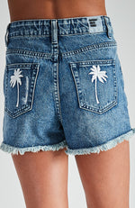 nora mid blue distressed faded raw edge girls denim short