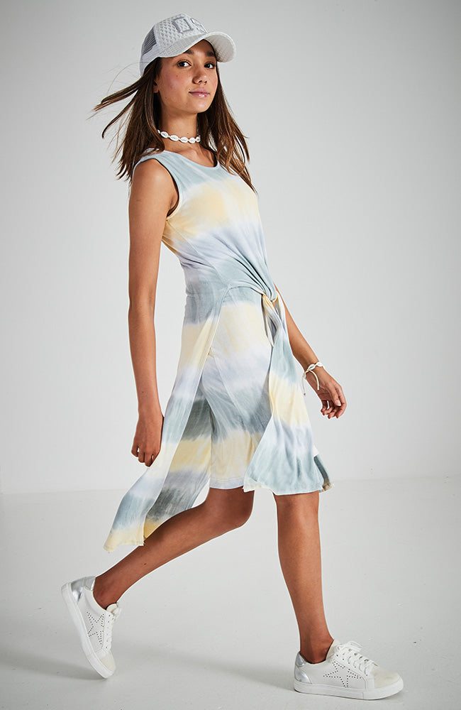 mikka yellow/grey tie dye all-in-one layered tie front skirt and dress